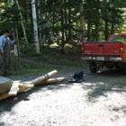 The bed stone used for hulling oats had gotten thin and needed to be replaced. Carefully moving the replacement from storage using a specially constructed sled.